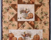 Quilted Fall Wall Hanging - Autumn Wall Quilt - Pumpkin Harvest Wall Decor