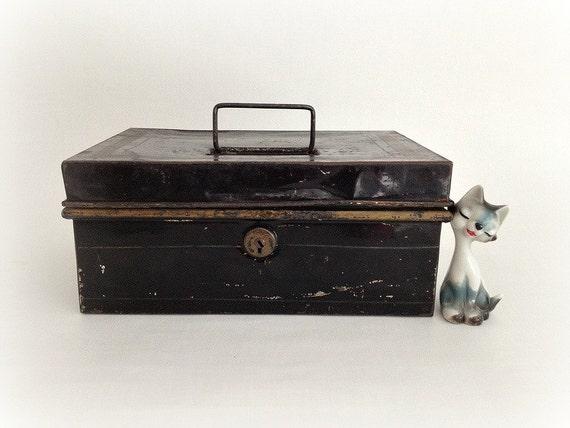 Antique Metal Lock Box Black