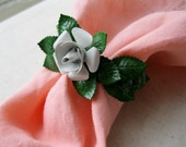 Vintage White Rose Napkin Rings. Set of Four. Enameled Metal. Shabby. Chippy. Cottage Decor. Kitchen Accessories
