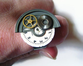 Steampunk watch parts ring, upcycled recycled repurposed