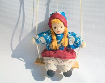 Vintage Doll Puppet On A Swing