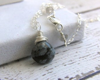 Snowflake Obsidian Sterling Silver Necklace Wire Wrapped Gemstone