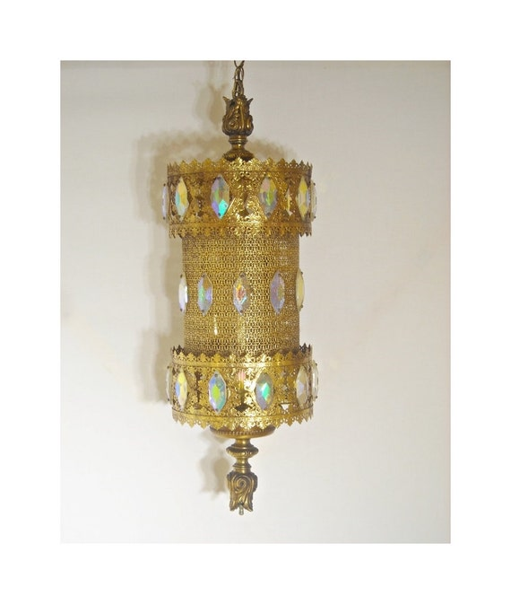mid century swag lamp light gold filigree by foxcreekvintage. Black Bedroom Furniture Sets. Home Design Ideas