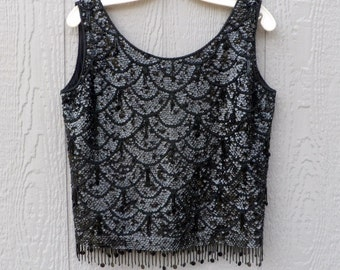 Vintage 60s Black  sequined and beaded cha cha top