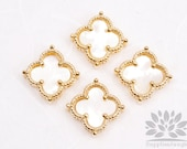 P500-01-G-WH// Gold Plated Mini Daisy Mother of Pearl Clover Gemstone Pendant, 1pc
