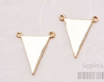 P405-01-G// Glossy Gold Plated Triangle Pendant, 2 pcs