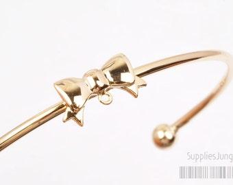 20% SALE// A316-02-G// Glossy Gold Plated Ribbon Bangle Bracelets, 1set