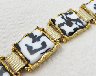 Black White Bracelet Art Glass Link Bracelet Fashion Jewelry Leopard Print Animal Theme Paint Splatter