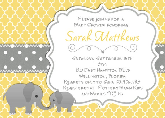 Elephant Baby Shower Invitation Yellow Gray Trefoil