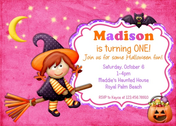 Halloween Birthday Invitation Girl Witch Printable Custom Photocard