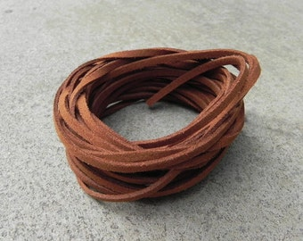 20Yds (1,800cm or 60Ft)-  Milk Chocolate Brown Faux Suede Cord, Lace (FS3-43)