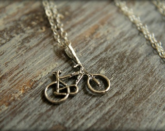 Bicycle Necklace in Sterling Silver