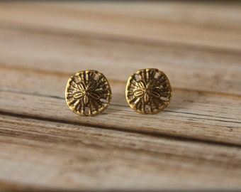 Sand Dollar Earrings, Available in Aged Brass or Antiqued Silver