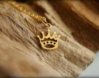 Five Point Crown Necklace, Available in Bronze/Gold and Silver