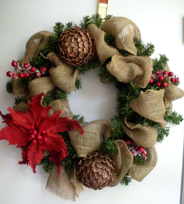 Wreath Ideas: Burlap Christmas Woodlands Wreath With Pinecones Poinsettia