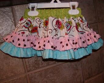 Paisley Ruffles..Girls Skirt Custom Twirl skirt. Available in 0-12 months, 1/2, 3/4, 5/6, 7/8, 9/10 Bigger Sizes Available