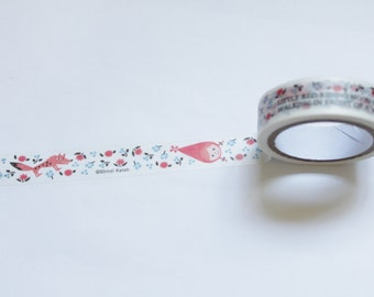 Tape-Washi Tape-Masking Tape-Single Roll- Cute Little Red Riding Hood wolf