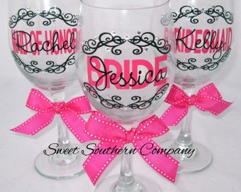 5 Personalized Bride and Bridesmaids Wine Glasses with Crystal Rhinestones
