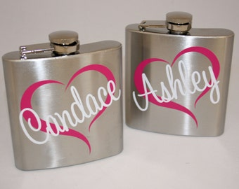 9 Personalized 6 oz Bride and Bridesmaids Stainless Steel Flasks - Wedding Party Flasks