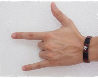 Infinity Knot Bracelet, Shrivatsa Leather Bracelet, Endless Knot Bracelet, Celtic Nordic Bracelet, Irish Gaelic Bracelet, Men's Leather Cuff