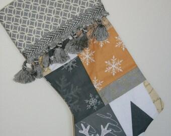 Grey & Mustard Christmas Stocking (Available as Set)