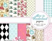 INSTANT DOWNLOAD Alice in Wonderland digital paper pack