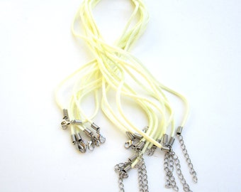 Leather Chain Cord Necklace Jewelry Making Supplies Pale Yellow Pastel