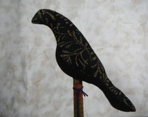 Black Bird Antique Bobbin Folk Art Fabric Shelf Setter Handmade Primitive Rustic Country Primitive Decor Natural Canvas Painted Message