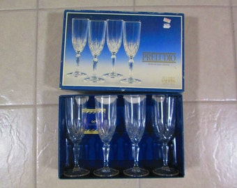 4 Champagne Flutes Vintage Lead Crystal 24 Capri Made in Italy Preludio