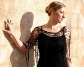 Kora- Black Silk Cotton Open Knit Fringe Poncho Shawl by Eva Bella