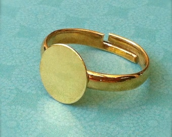 25 - Adjustable Ring Base Blank - Jewelry Supply - Gold Plated - 10mm Pad