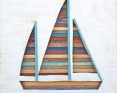 Reclaimed Wood Art - Collier - Sailboat - Nautical