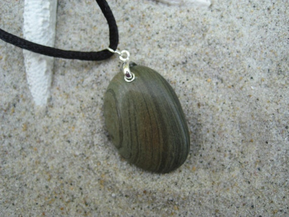 Beach Stone Pendant with Multicolored Vertical Lines