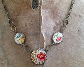 """Tin Jewelry Necklace """"Fleur Trio"""" Tin for the Ten Year Anniversary"""