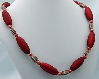 Burgundy & Antique Copper Necklace
