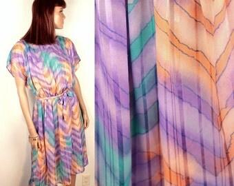 1970s sheer flutter dress // belted