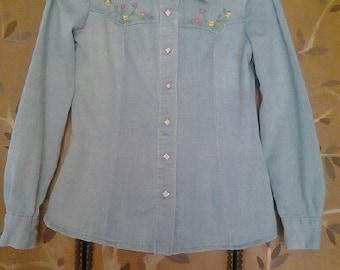 70s embroidered Hippie denim shirt