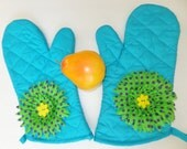 Sky Blue Oven Mitt Set, Insulated Hot Pad, Barbeque Mitts