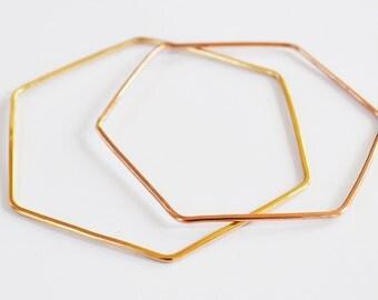 Hexagon Bracelet, Hexagon Bangle Bracelet, Stacking Bracelets, Rose Gold Bangle, Gold Filled, Sterling Silver Bracelets