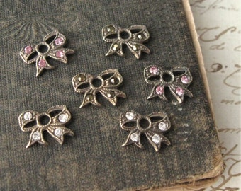 Tiny Rhinestone Bow Charms in Oxidized Brass Settings YOU CHOOSE COLOR Crystal Dorado Pink (2)