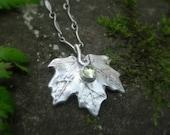 Real Leaf Necklace - Woodland Maple Leaf Necklace With Peridot - Made With a Real Leaf - Silvan Leaf - Artisan Botanical  Forest Jewelry