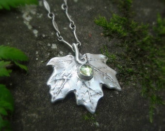 Woodland Maple Leaf Necklace With Peridot - Made With a Real Leaf - Silvan Leaf - Artisan Botanical  Forest Jewelry