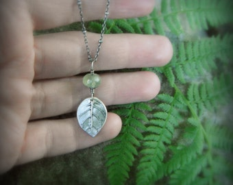 Real Leaf Necklace - Woodland Prehnite Leaf Necklace - Elven Leaf Necklace - Artisan Crafted Recycled Silver - Botanical Jewelry - Forest
