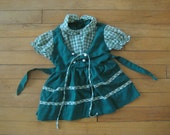 Vintage PLAID GREEN DRESS Hipster Kid Baby Toddler | Hansel + Gretel, Tie Bodice, Adorable (18 Months)