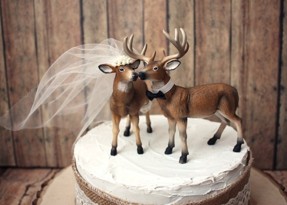 deer cake toppers ivory deer wedding cake topper and groom buck and 3473