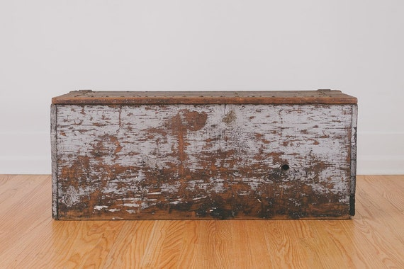 Large Vintage Distressed Wood Farmhouse Trunk By