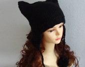 Cat Ears  earflaps Hat Cat Beanie Chunky Knit Winter Accessories Animals Hat  cat ears hat BLACK  POM POM hat