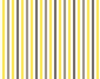 Lemon/Silver Mini Stripe Minky From Shannon Fabrics 1 Yard