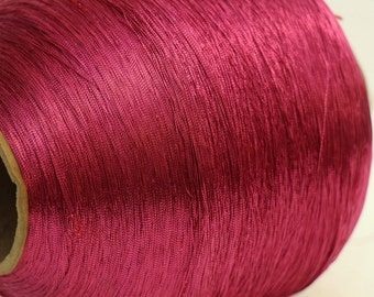 Large vintage spool Hot pink acetate fiber
