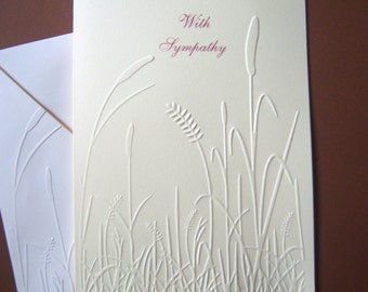 Embossed Cattails and Leaves Sympathy Card